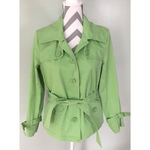 TALBOTS Stretch Green Button Belted Coat Jacket
